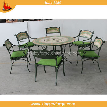 6 Seater Outdoor Fire Pit Dining Set Mosaic Table