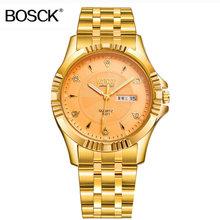BOSCK Топ Роскошные Rolexable кварцевые часы мужские часы из нержавеющей стали мужские деловые золотые наручные часы мужские часы водонепроницае...(Китай)