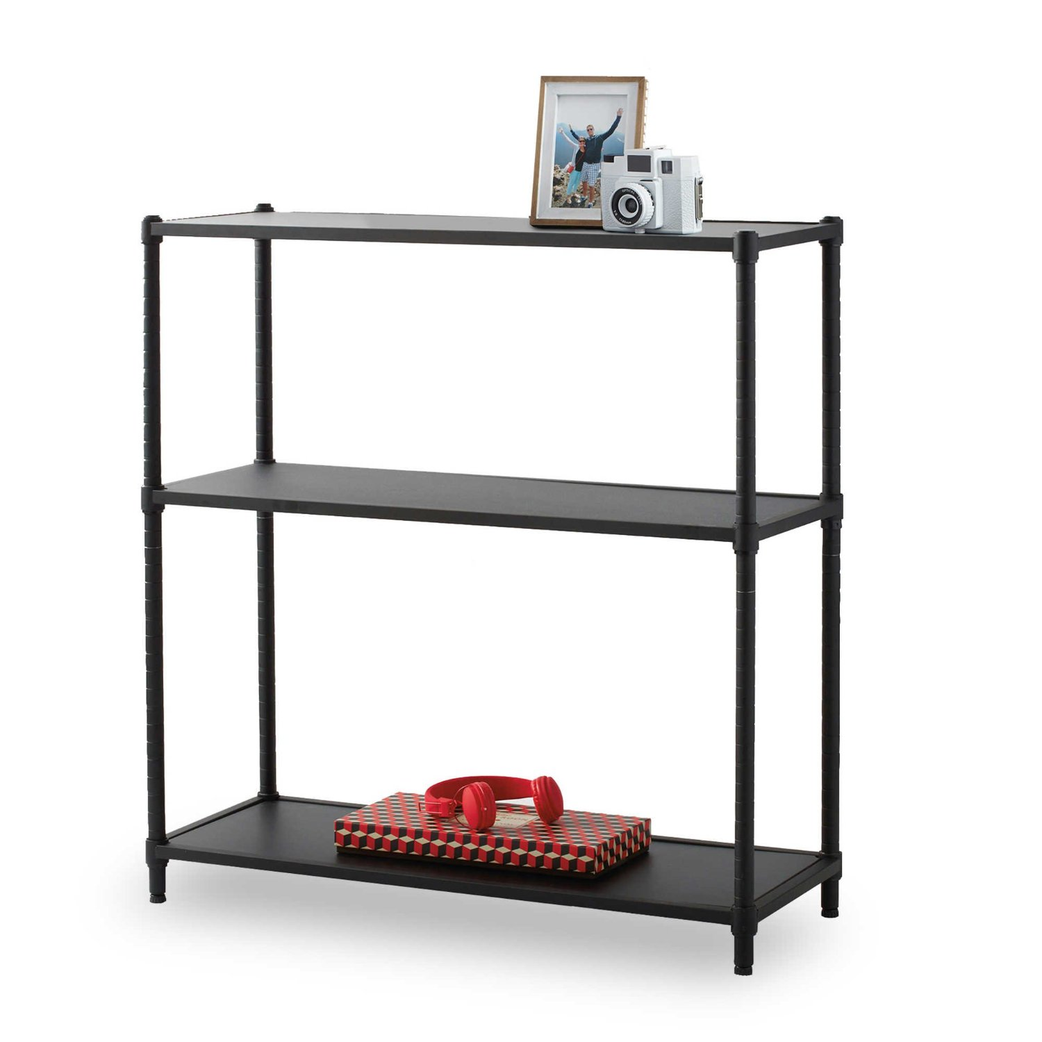 cube two tone shipping bookcase today free ebony tier overstock shelf folding walnut bookcases home product garden