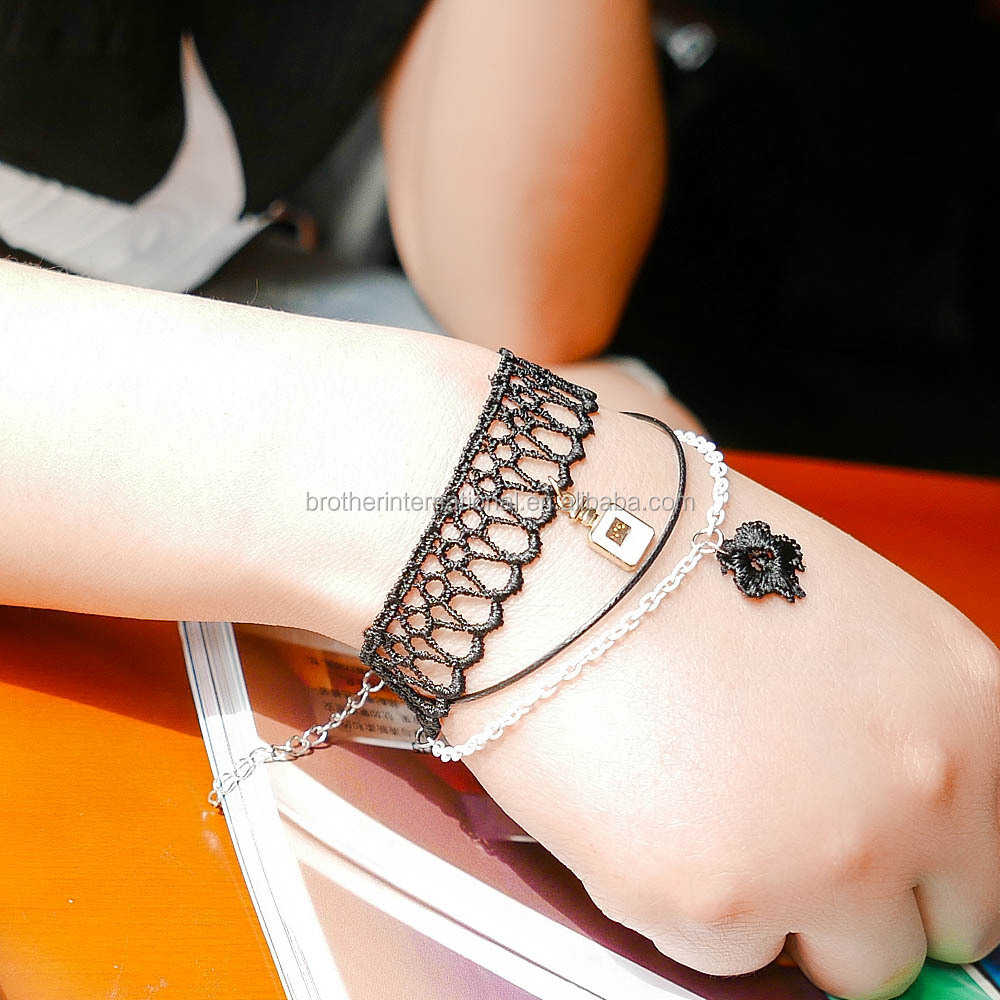 punk style black lace multi layers delicate bracelet wholesale