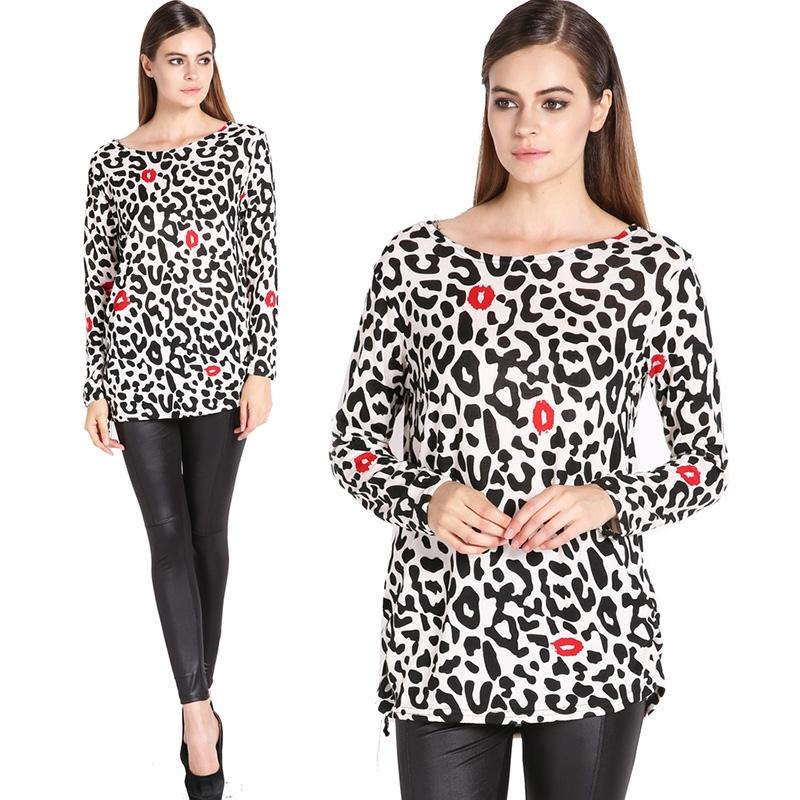 1295d7b64e1 Get Quotations · New Fashion Long Sleeve O-neck Leopard Plus Size Loose  Women T-shirt Flannel