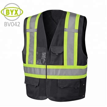 Construction engineer black security reflective safety vest with Multi  pocket 5a21dccd177