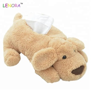 Wholesale cute cartoon plush toy teddy dog doll large paper towel box creative car household tissue paper box