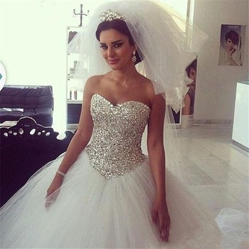 33697184 Sequin Rhinestone Applique Heavy Beading Full Beaded Bling Ball Gown  Strapless Sweetheart Crystal Corset Wedding Dress