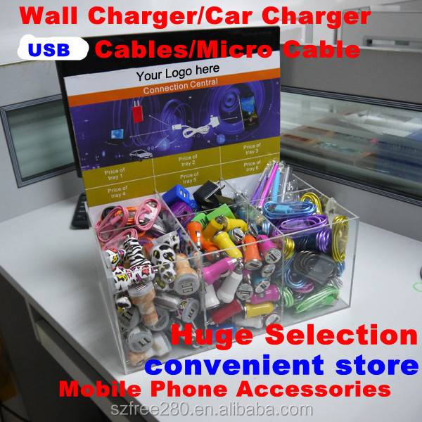 2016 Wall charger/ car charger/ usb cable Display box to show all product