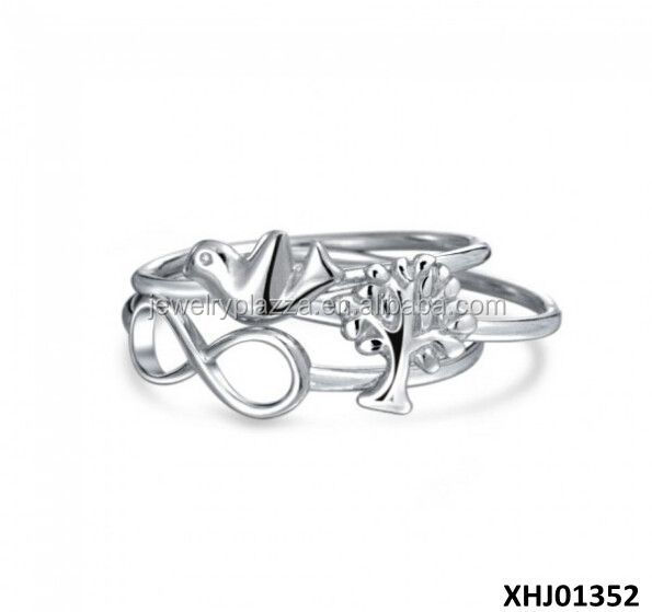 Cupids Arrow Love Heart Stackable Rings Set 925 Sterling Silver