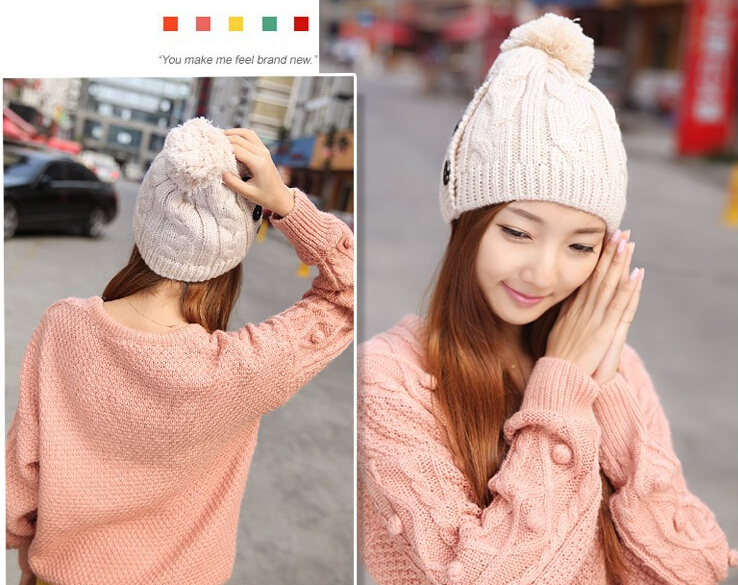 New Korean Style Winter Cap Women Warm Woolen Knitted Fashion Hat For Girls  Button Twisted Beanie 783bace40eb