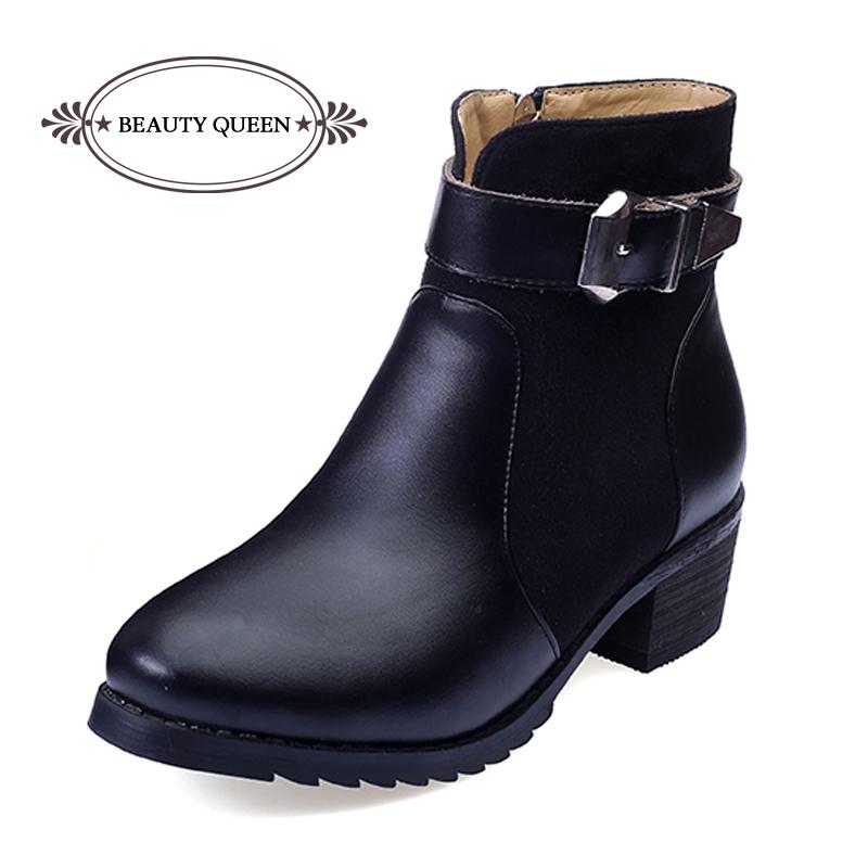 791b97c2fb33 Get Quotations · Women Winter Boots 2015 Warm Leather Pu Chelsea Flat Ankle  Boots Ladies Shoes Platform Martin Punk