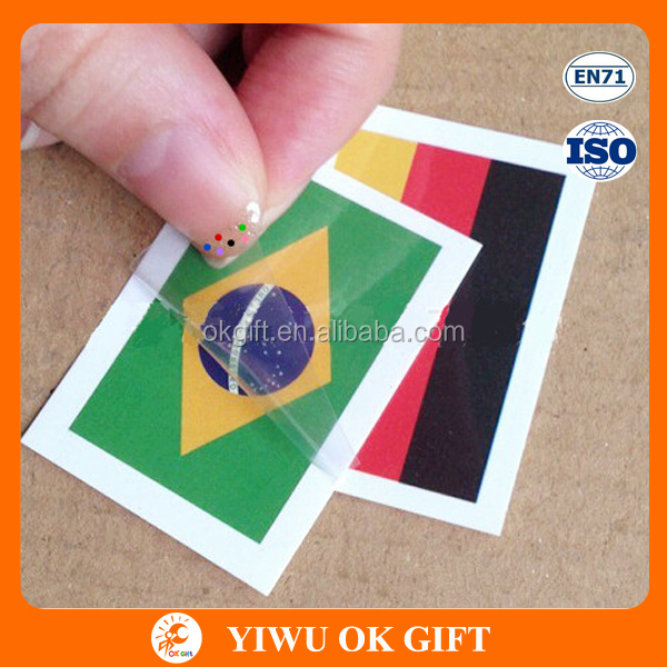 Wholesale 2016 Euro Cup Nation Flag Waterproof Non-toxic Fans Faces Tattoos Sticker