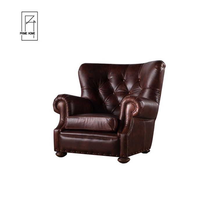 Speciale Ontwerp Sofa Hotel Single Seater Vintage Lederen Sofa, Leren Bank, Chesterfield Lederen Sofa