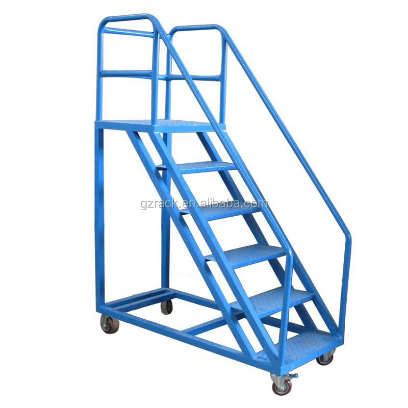 Warehouse aluminum Safety Rolling Mobile Platform Ladder Truck Hot Sales Good Quality Industrial Stairs
