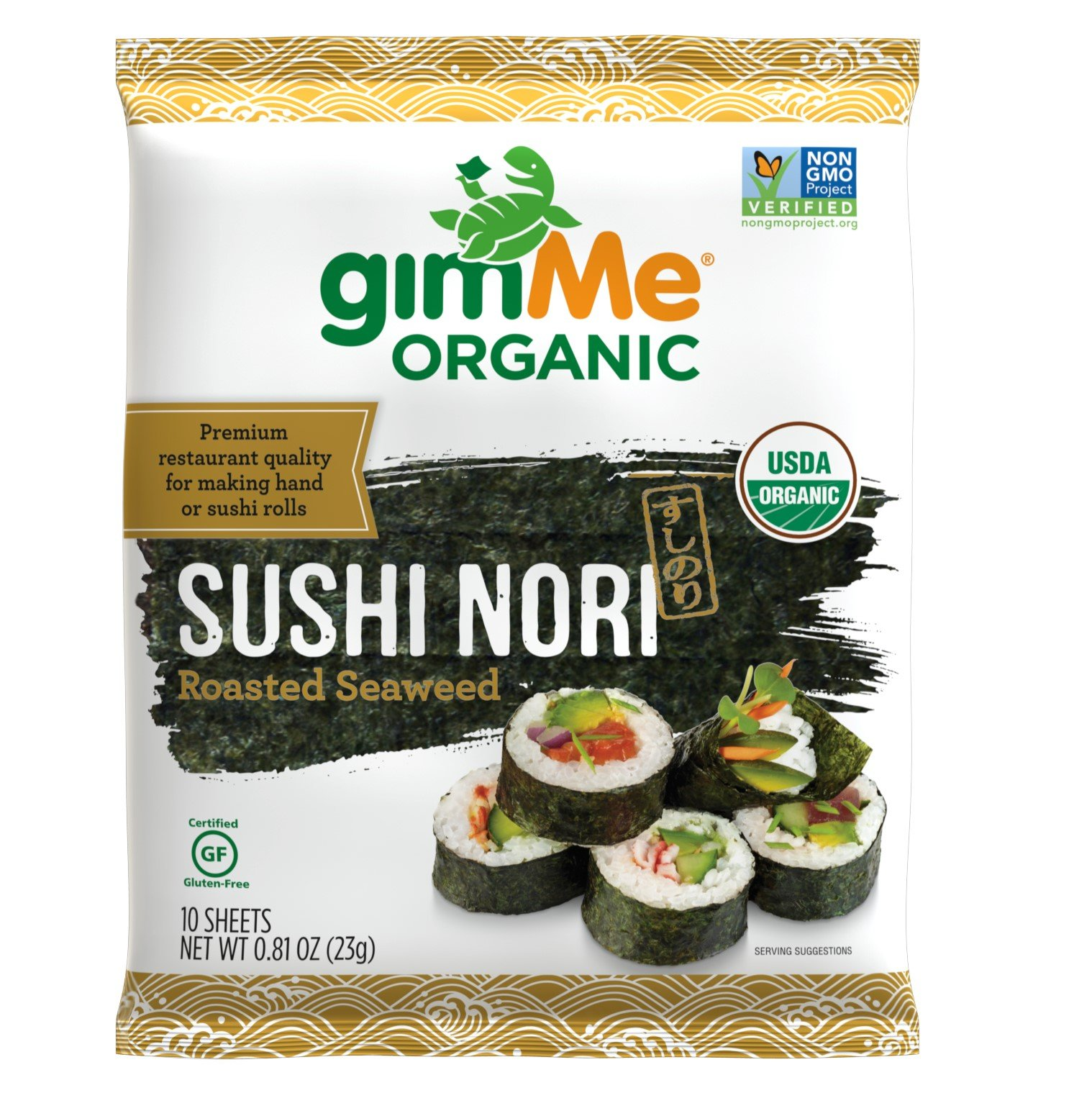 gimMe Snacks Organic Premium Roasted Seaweed Sushi Nori, 0.81 Ounce - 1 Pack