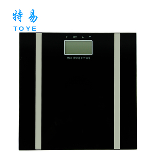 Best digital 300X300 mm temper glass body fat scale with 150kg/180kg