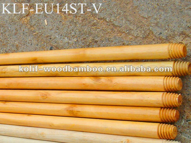 paint wood broom mop pole rod with Natural screw/metal screw/plastic screw and length 60~180cm x diameter 2.2~3.6cm