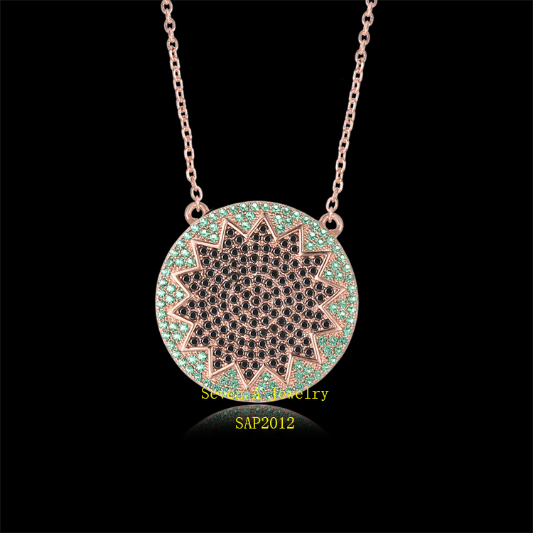 SAP2012 Nano Green And Black CZ Turkish Necklace With Gold Plated