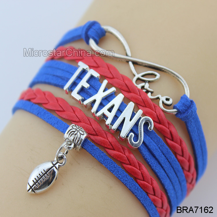 Custom made cheap football sports woven Bracelet charm jewelry