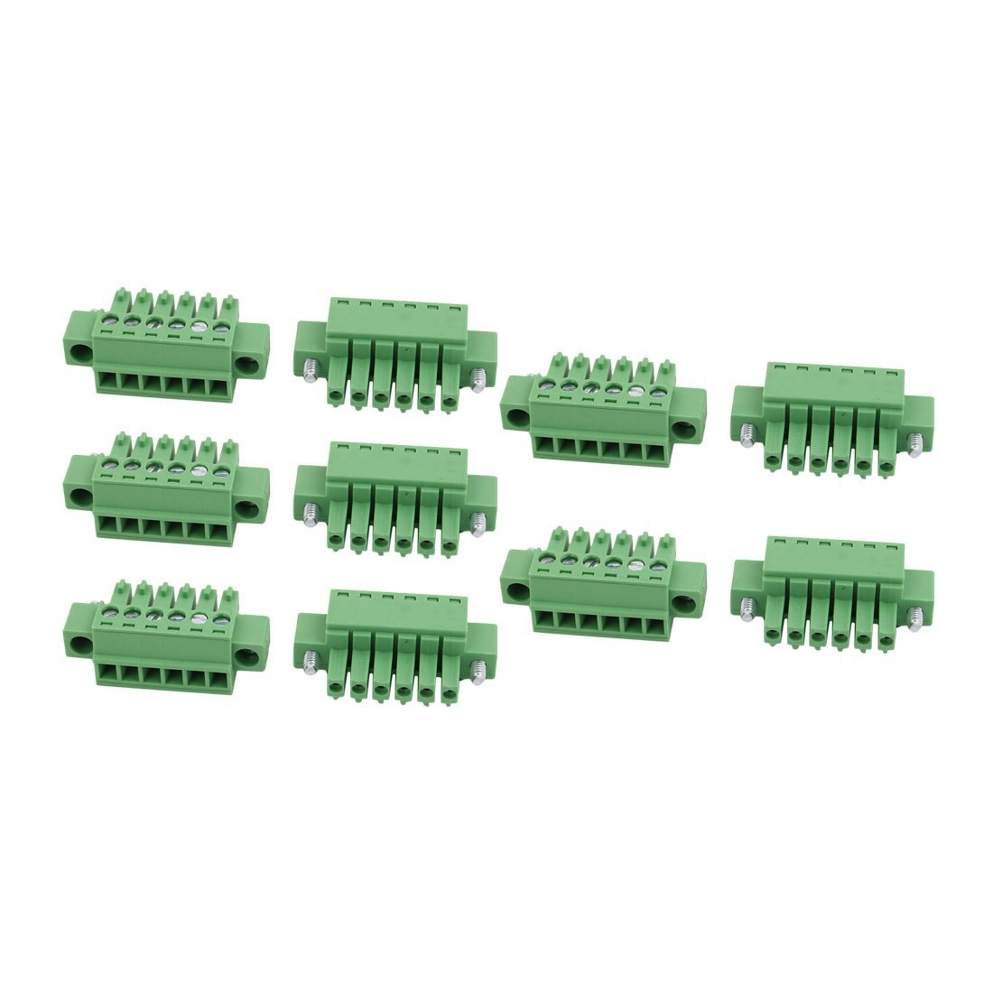 uxcell 10Pcs LC1M AC300V 8A 3.5mm Pitch 6P PCB Mount Terminal Block Wire Connector