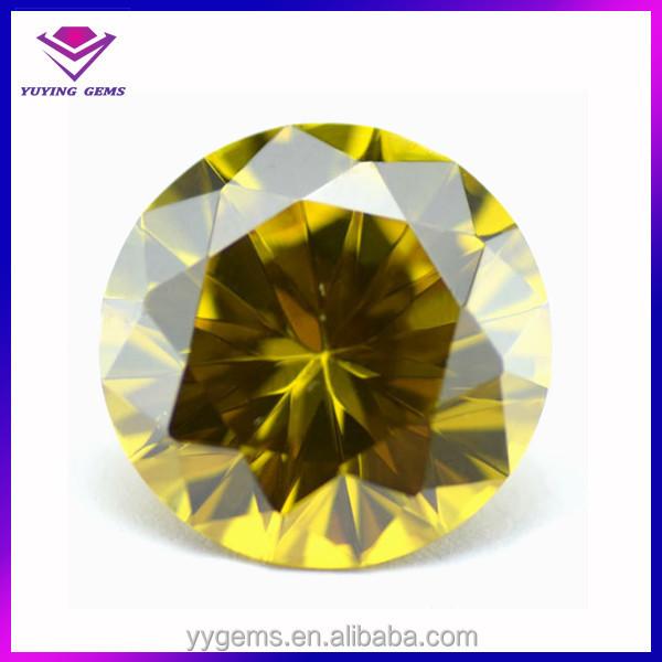 Beauty Olive Yellow Gemstone Round Cubic Zirconia Gem Hot Gemstone ...