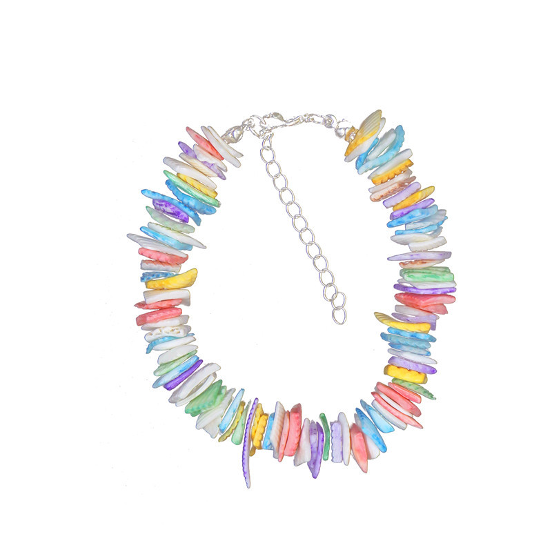 Color sea shell necklace natural shell choker necklace