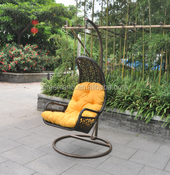 Outdoor Cane Bamboo Hanging Swing Egg Chair With Cushion