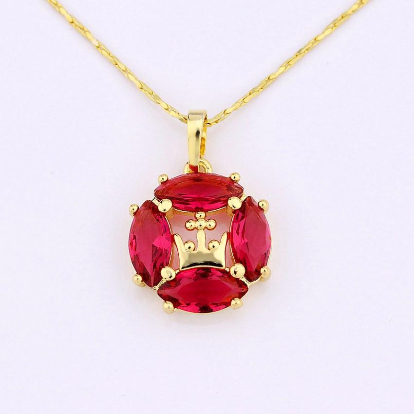 New design jewellery round shape ruby stone 18k gold necklace round shape ruby stone 18k gold pendant necklace aloadofball Images