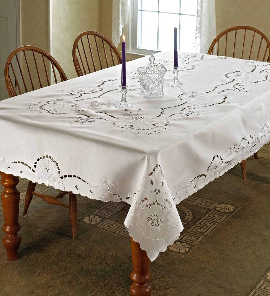 """Violet Linen Sapphire Embroidered Design Oblong/Rectangle Tablecloth, 60"""" x 88"""", White"""