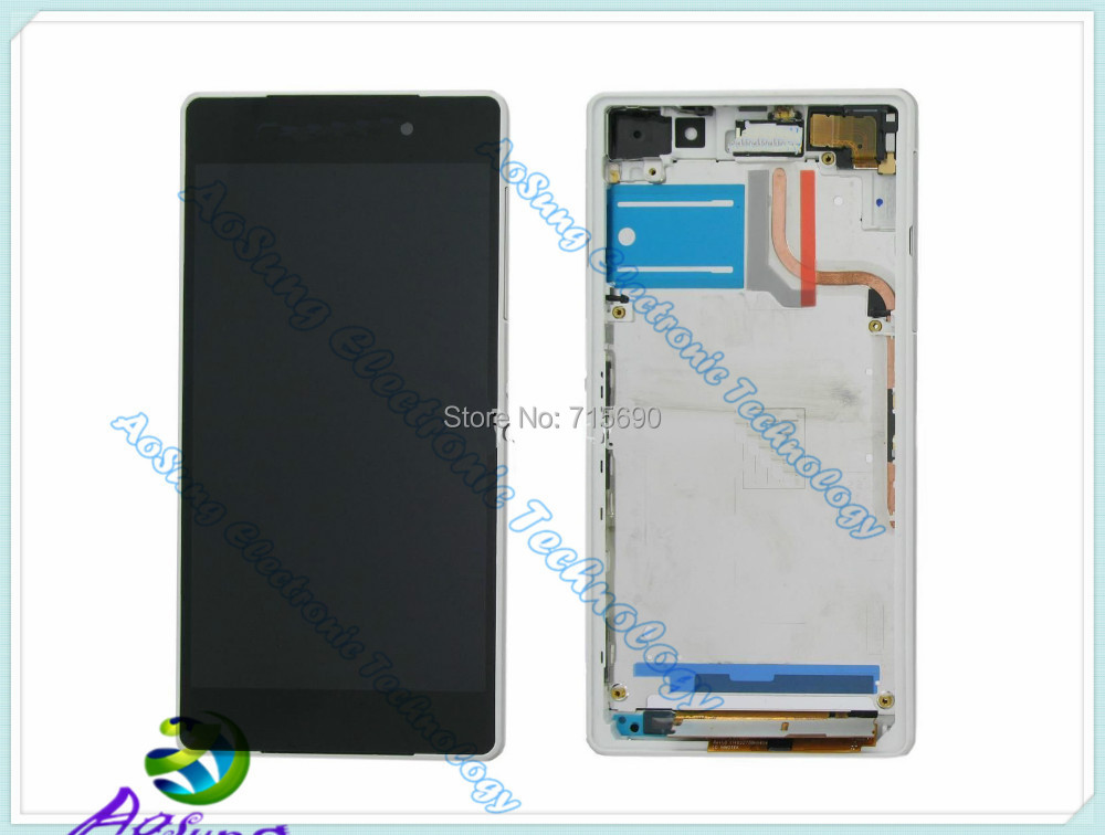 White 100% original Z2 L50W LCD For Sony Xperia Z2 L50W D6502D 6503 D6543  Z2 LCD display touch screen +frame Assembly +hk post