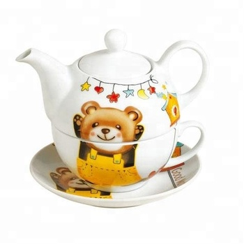 Cute Cartoon Bear Decal 3 Pcs Ceramic Tea Set For One Service With