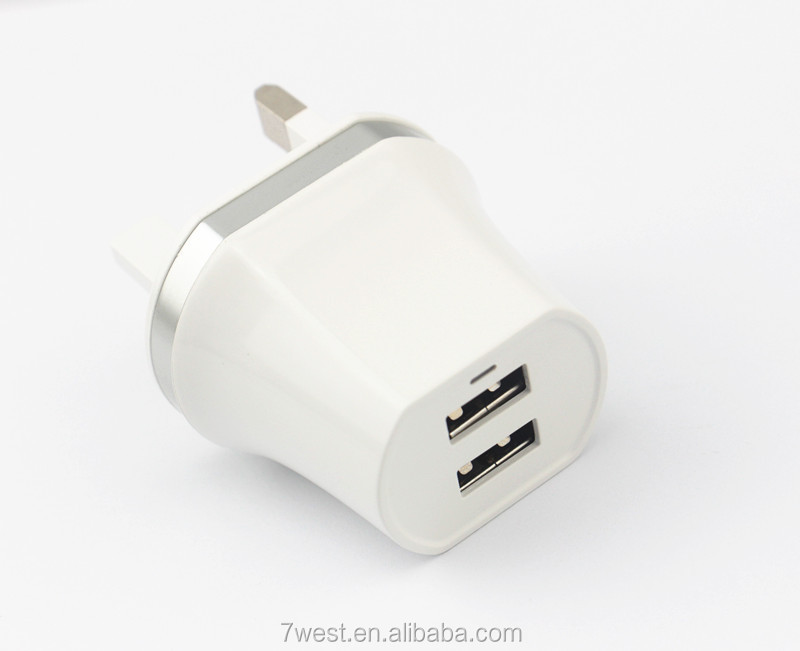2.1A Output Dual USB Port UK Plug Travel charger For Mobile Phones Wall Charger