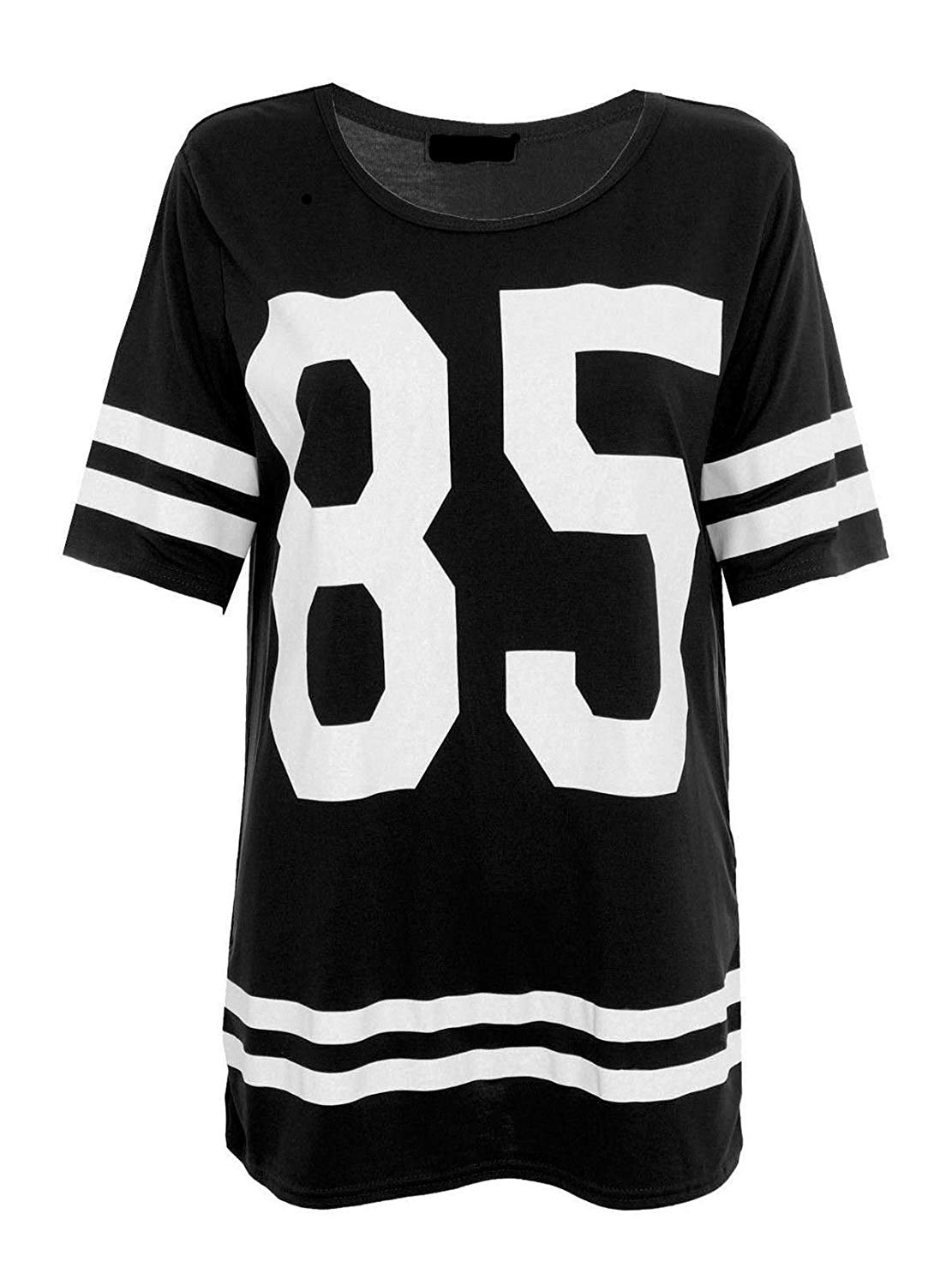 1d22da00912ca Get Quotations · Rimi Hanger Womens Short Sleeve 85 Printed Oversized Baggy  Top Ladies Round Neck Striped Baseball T