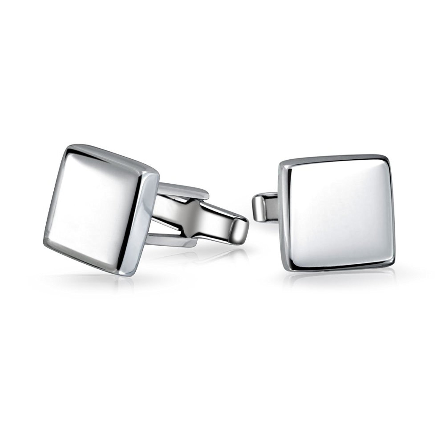 High Polished 925 Sterling Silver Modern Square Mens Cufflinks with Engraving
