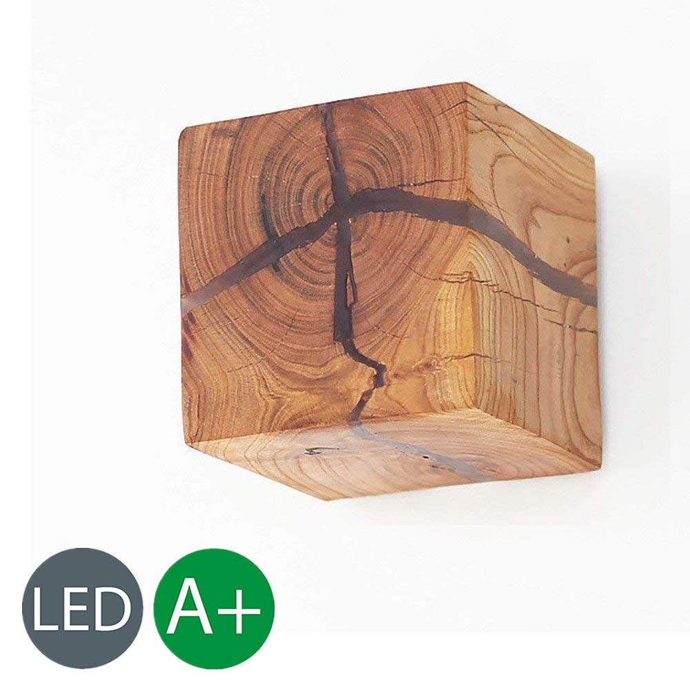 Eoyemin Wooden Crack Wall Lamp Light, G4 5W Modern Creative Wall Sconce LED Bedside Lamp Mini Porch Wall Sconces ,Warm White Light (3.14 3.14 3.14 Inch ) (Color : Set of 1)