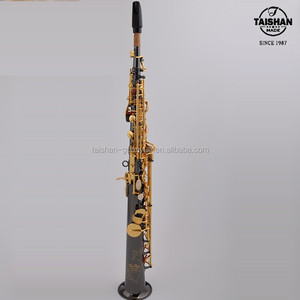 TaiShan Black Nickel Soprano Sax with Gold Lacquer Keys from China TSSS-650F