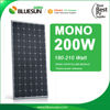 BlueSun A grade cell positive tolerance 200w 210w pv solar panel mono 200wp solar pv module