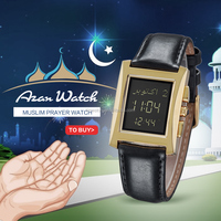 Automatic Islamic Arabic Digital Muslim Prayer Watch with Genuine Leather Belt for wholesale