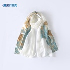 Plain color white long georgette scarf silk satin shawl