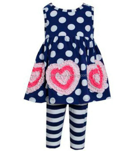 2015 wholesale royal child children clothing baby girls ruffle capri sets valentine clothing