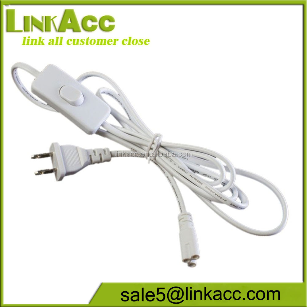 LKCL85 T5 T8 V-shaped tube integrated LED tubes 6ft Power Cable with switch US Plug