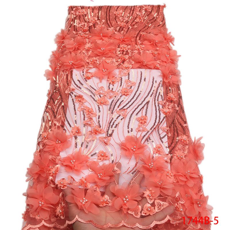 Arts,crafts & Sewing Lace 2019 Latest Design Dubai Lace Fabric Beaded French Lace Fabric Peach African Hot Sale Lace Fabric For Party Dress Jyw-117