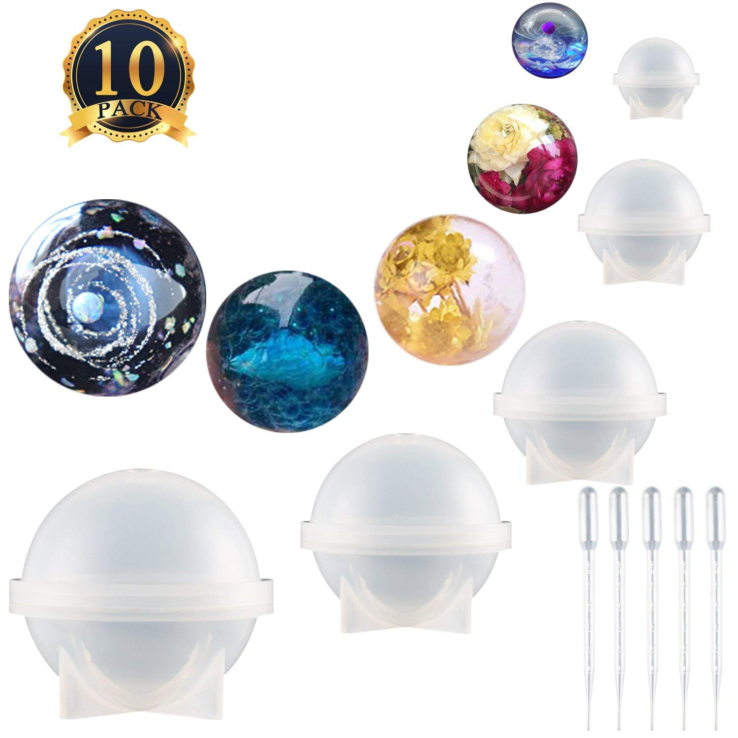 SUBANG 5 Pack Sphere Round Silicone Mold Jewelry Casting Molds Silicone Resin Jewelry Molds with 5 Pack Droppers for Resin Epoxy, Jewelry Making, Candle Wax, Homemade Soap, Bath Bomb