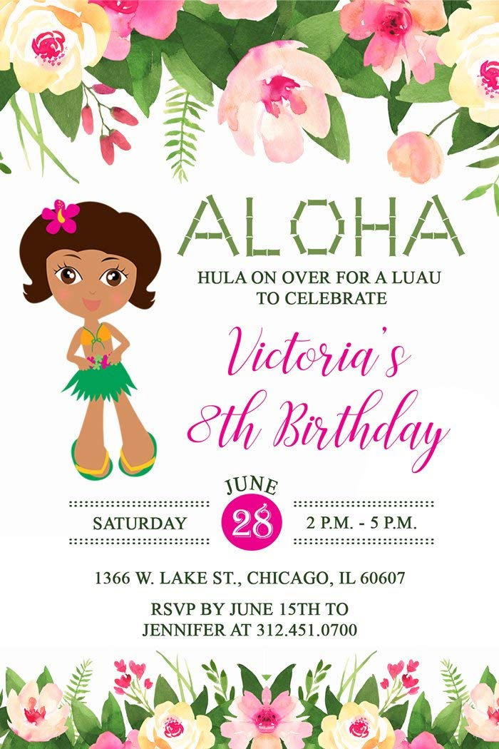 Get Quotations Luau Birthday Party Invitation Brown Skin Tone Printed Personalized Invitations