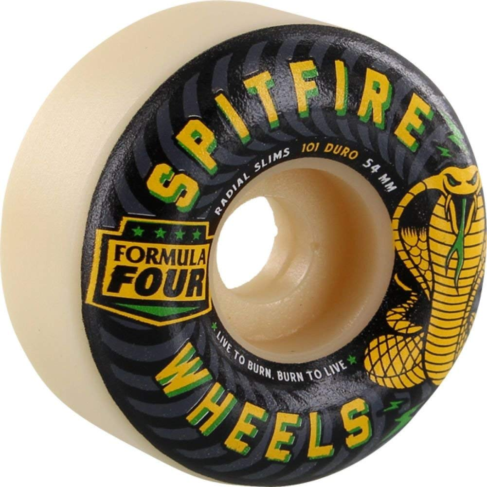 Spitfire Wheels Formula Four Radial Slims Speed Kills White Skateboard Wheels - 54mm 101a (Set of 4)