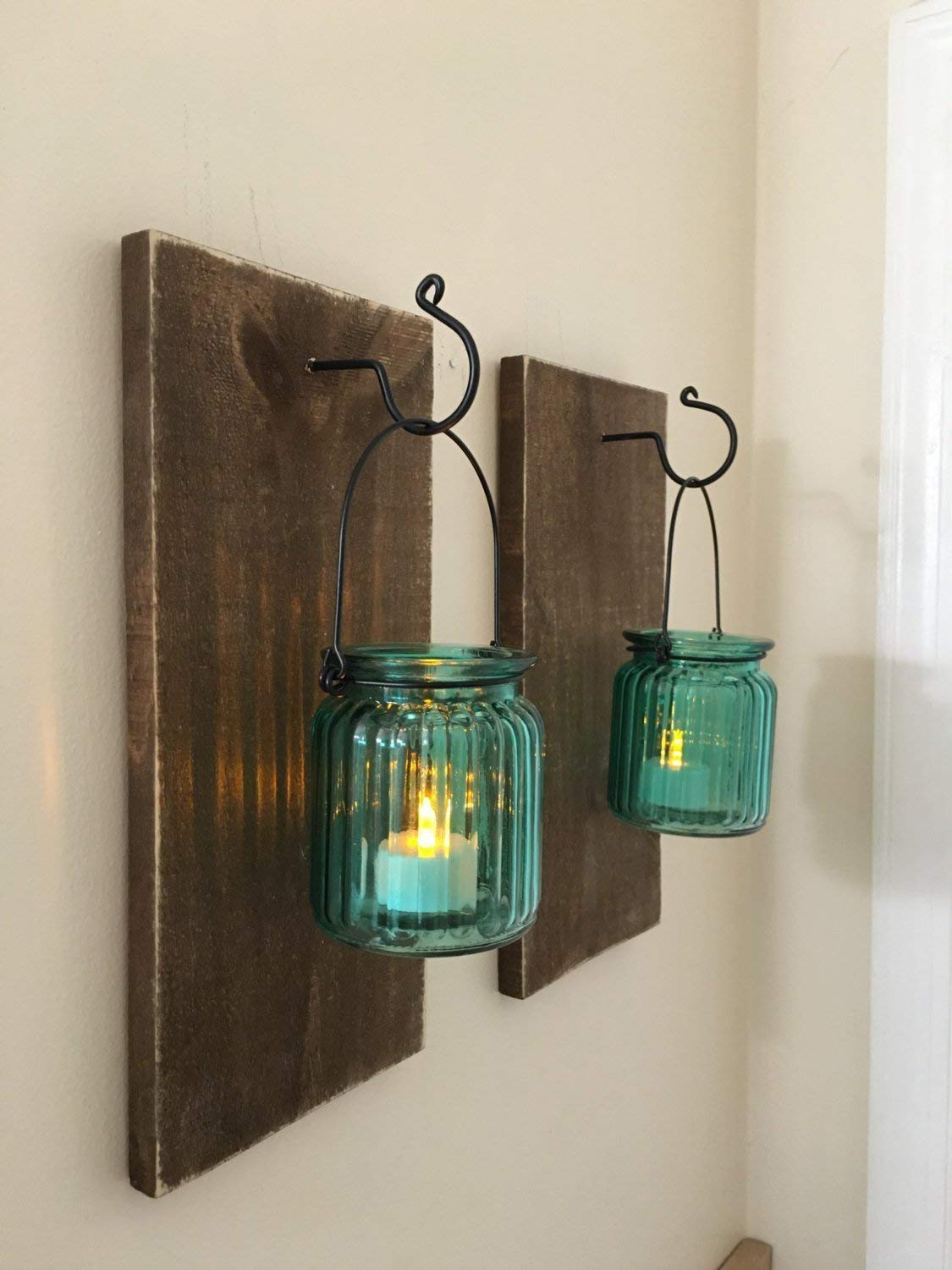 Get quotations · mason jar wall sconce set of two rustic wall sconces set of candle