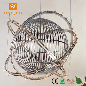 Newly Modern Hotel Project Decoration Stainless Steel Round Ball Chandelier