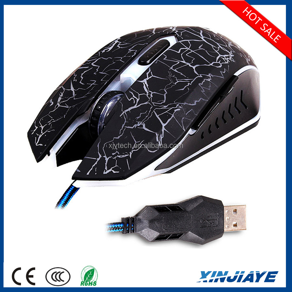 2015 cheapest 6 buttons Adjustable 2000 DPI wired USB Gaming Optical mouse with 6 colors Breathing LED