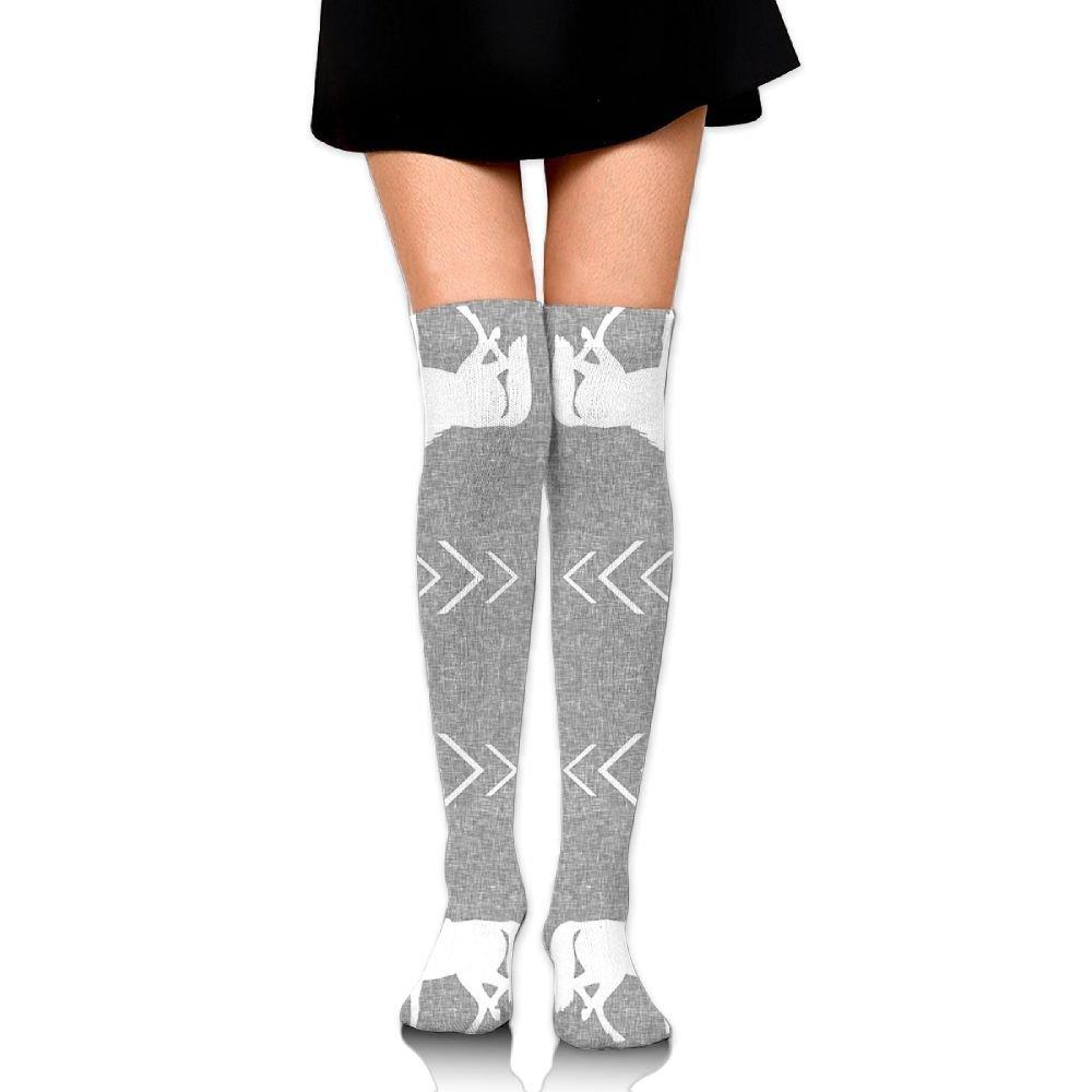 1985ba0f1 Get Quotations · Women s Horse Light Grey Fashion Over Knee Thigh High Socks  Stockings Length  65 Cm