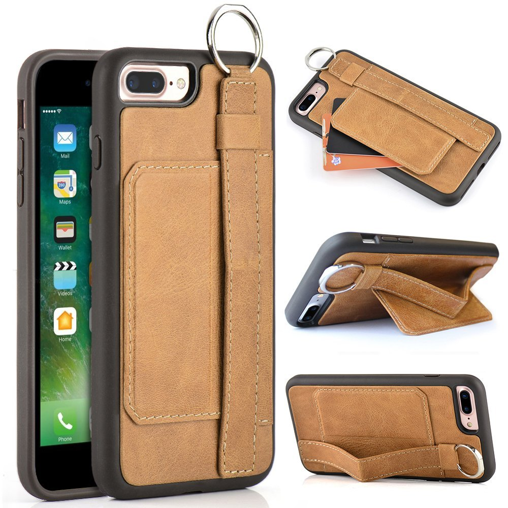 more photos 72289 e6497 iPhone 7 Plus Genuine Leather Case, LAMEEKU iPhone 7 Plus Wallet Case with  Hand Strap Holder KickStand and Card Holder & Credit Card & ID Card Slot,  ...