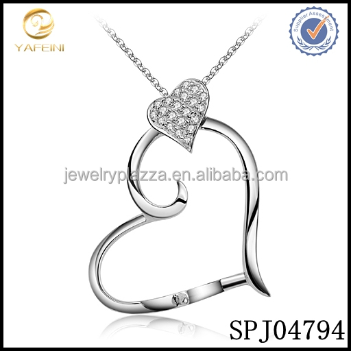 Pave diamond heart pearl necklace setting pendant,925 sterling silver pendant necklace mount for pearl