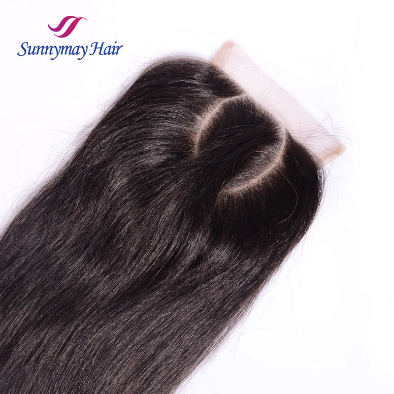 "Sunnymay New Arrival O Part Lace Closure Brazilian Straight 4""x4"" Slightly Bleached Knots Brazilian Human Hair Closure"