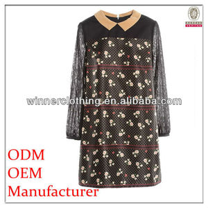cute/sweet lace korean clothes woman with floral print and h line